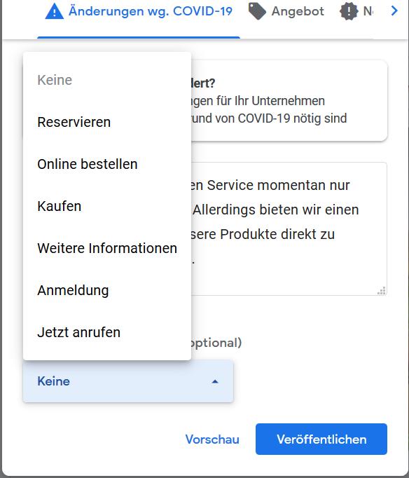 Screenshot:  Schaltfläche zum Corona-Beitrag in Google MyBusiness hinzufügen