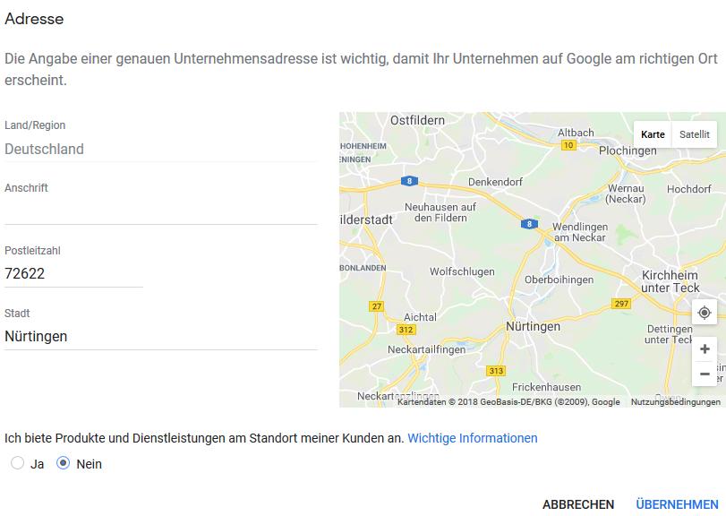 Adresse oder Einzugsgebiet in Google MyBusiness / Google Maps einstellen