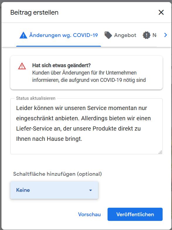 Screenshot:  Beitrag zur Corona-Krise erstellen in Google MyBusiness