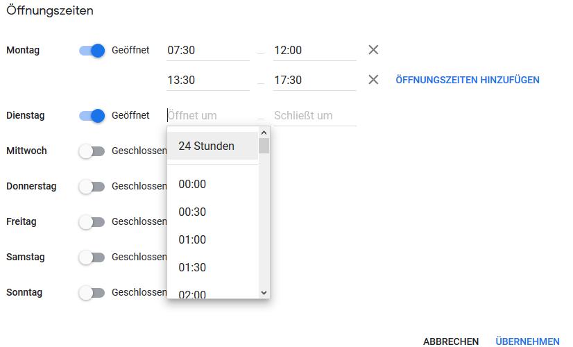 Öffnungszeiten in Google MyBusiness / Google Maps einstellen