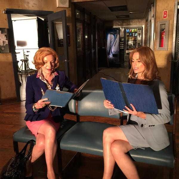 """Rehearsing with the gorgeous and talented @Stana_Katic trying to give her some #unsolicitedadvice"" (c)@realssullivan"