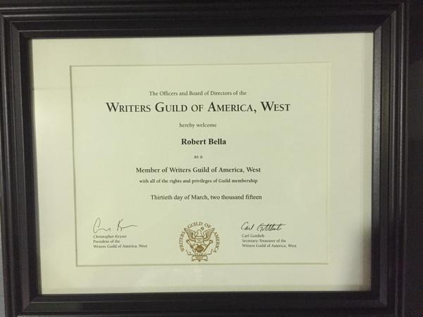 """It's official! I'm a member of the WGA! Thanks @AlexiHawley  #UnionMan #CastleS8 #Gratitude"" (c)@brooklynbella"