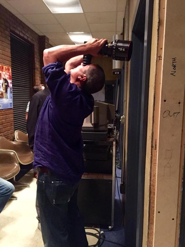 """Rob Bowman setting up a shot for our special upside down episode. #castleseason8"" (c)@AlexiHawley"