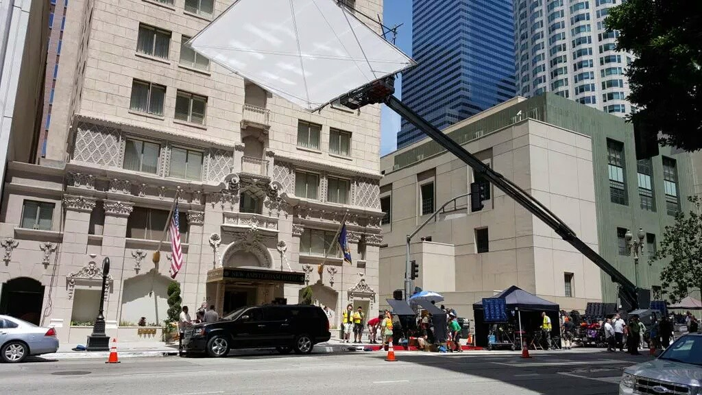 """""""Filming part of season 8 of Castle here in downtown LA"""" (c)@DanThompson_TN"""