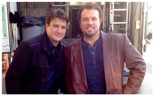 """throwback Thursday. @NathanFillion @AdamBaldwin  Most fun I ever had on set. #Castle"" (c)@AlexiHawley"