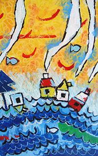 """""""vento e pioggia"""" acrilico su lamiera - 5 pannelli da cm30x50 (3)"""
