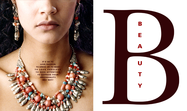 Beauty caption with image ( designed by Vicki Israel ) of young woman wearing exotic jewellery