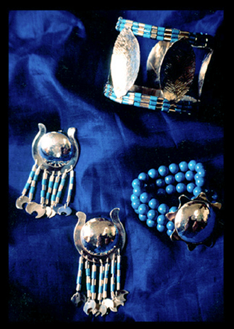 Egyptian artwear jewellery ( silver and turquoise ) created by Vicki Israel