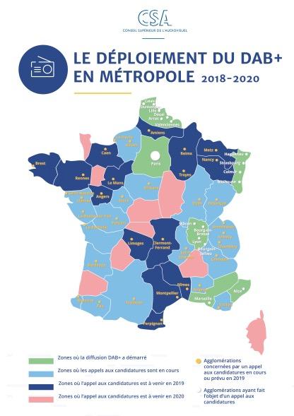 Le déploiement du DAB+ en France métropolitaine, image: CSA