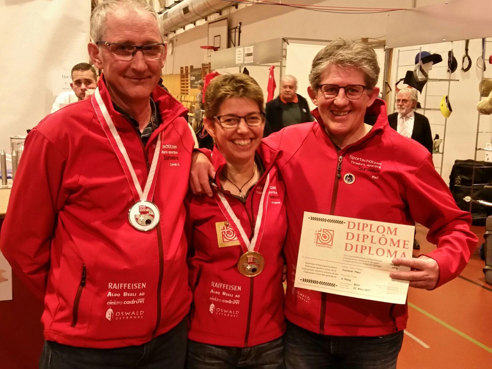 10m Schweizermeisterschaft 2017 in Bern - Senioren Gold Yvonne M., Silber Corsin D., Diplom Placi C.