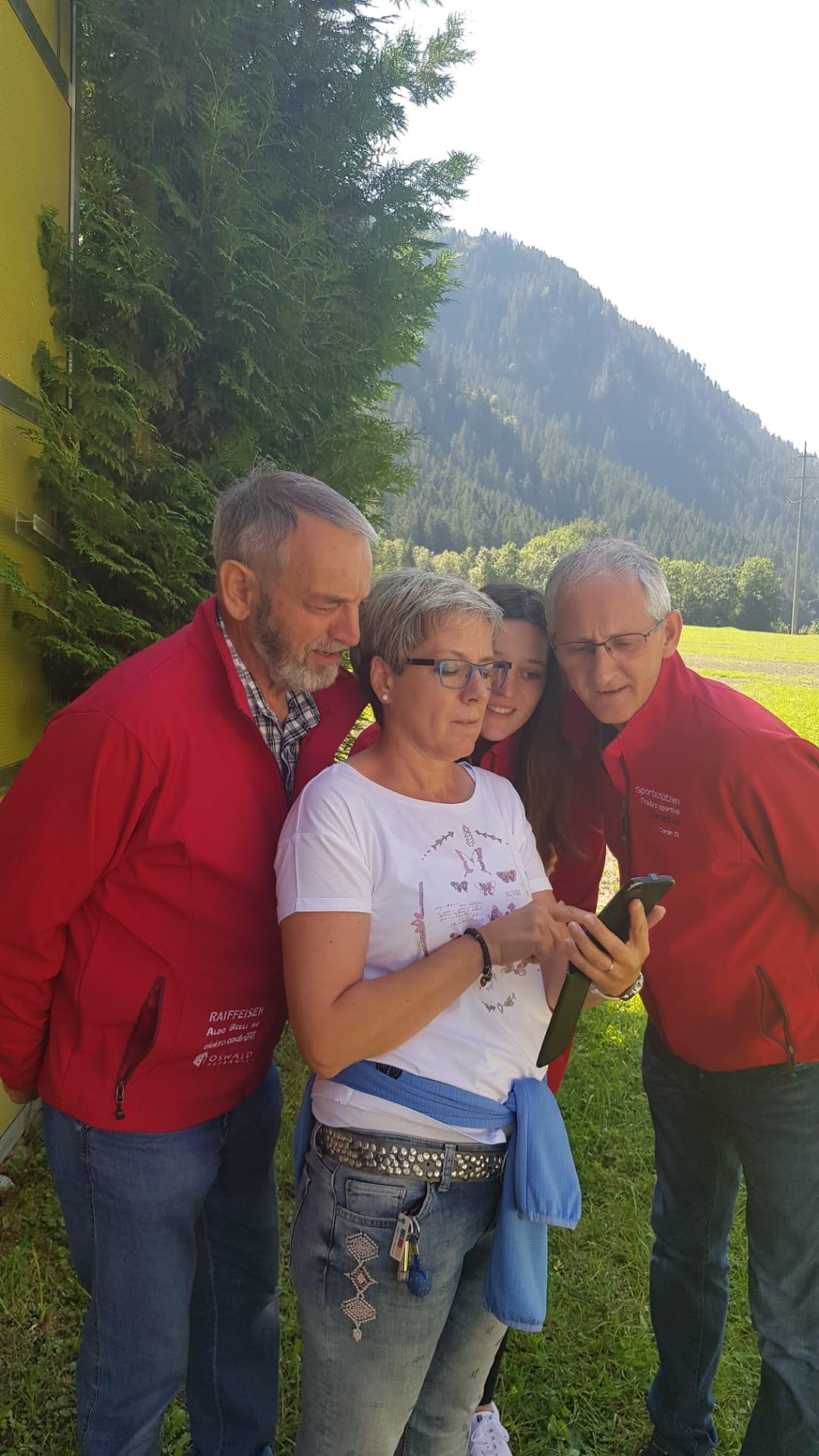 Bezirksmatchfinal 2019 in Pardiala v.l. Guido, Brida B., Nadja, Corsin D.