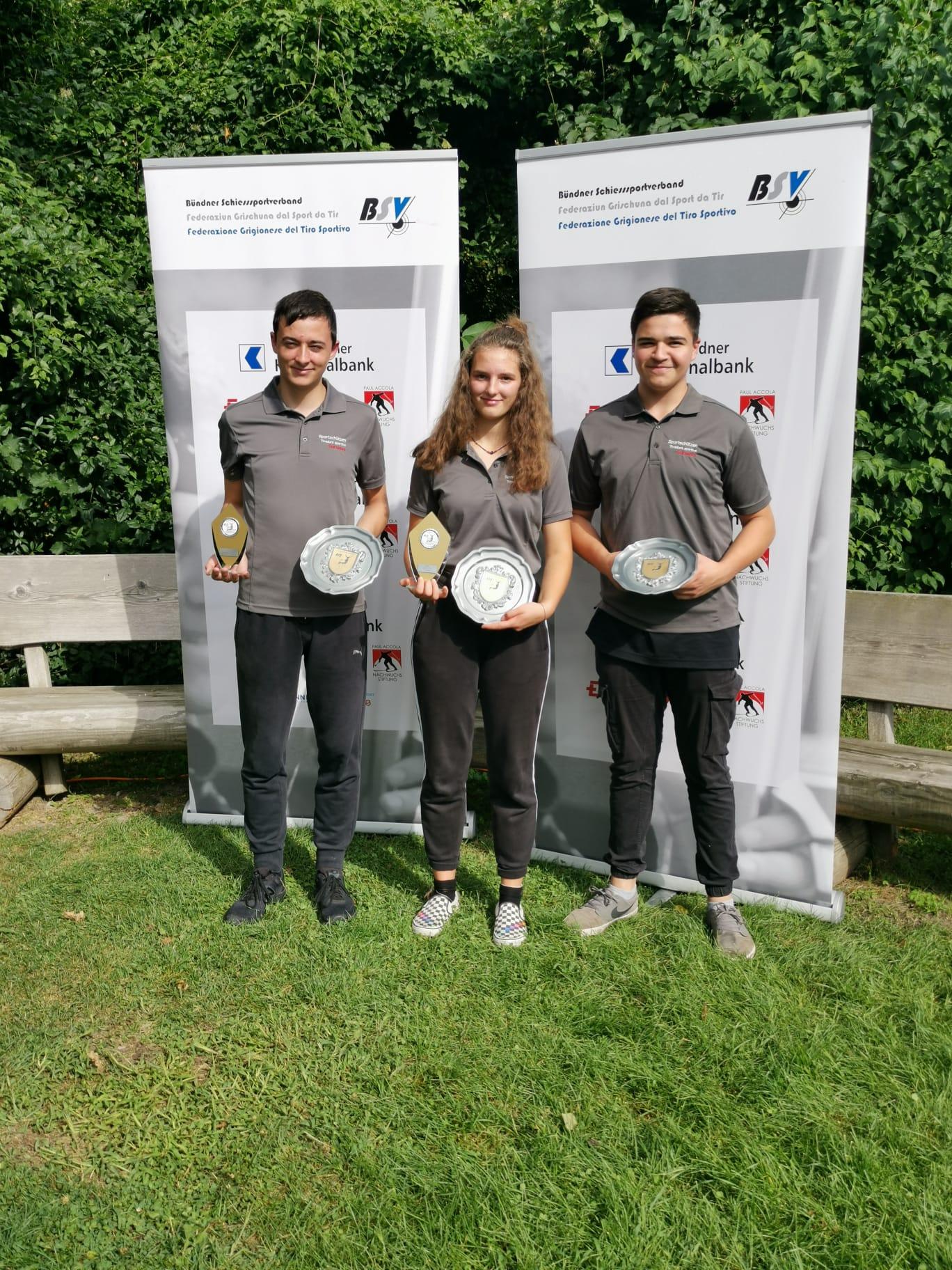 Bündner Jugendtag 2020 50m Gruppe 1. Rang Chris * Anja * Tino