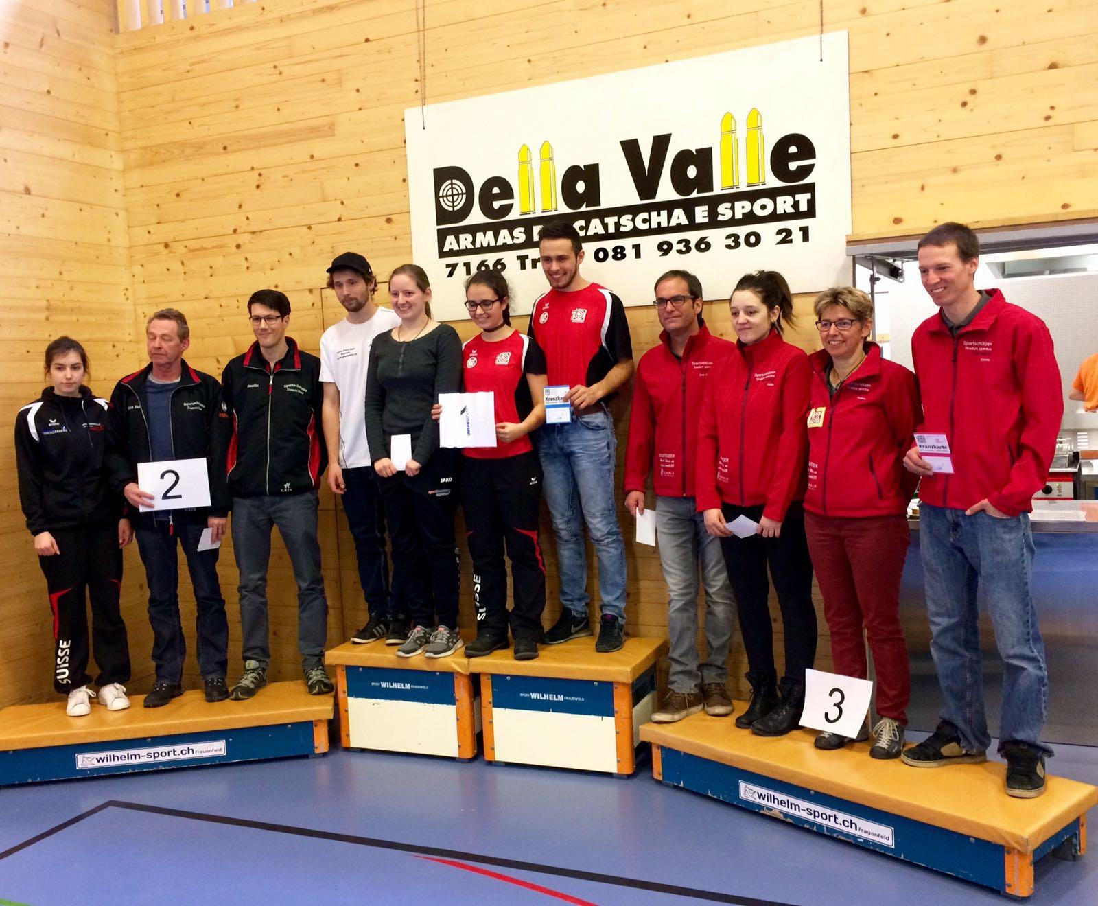10m Bündner GMS 2017 in Trun - Elite 3. Rang v.l. Ivan, Nadja, Yvonne, Corsin C.