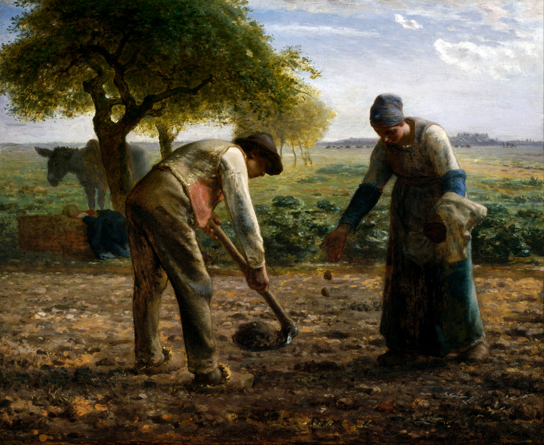 """Millet, """"Les Planteurs de pommes de terre"""", huile sur toile"""