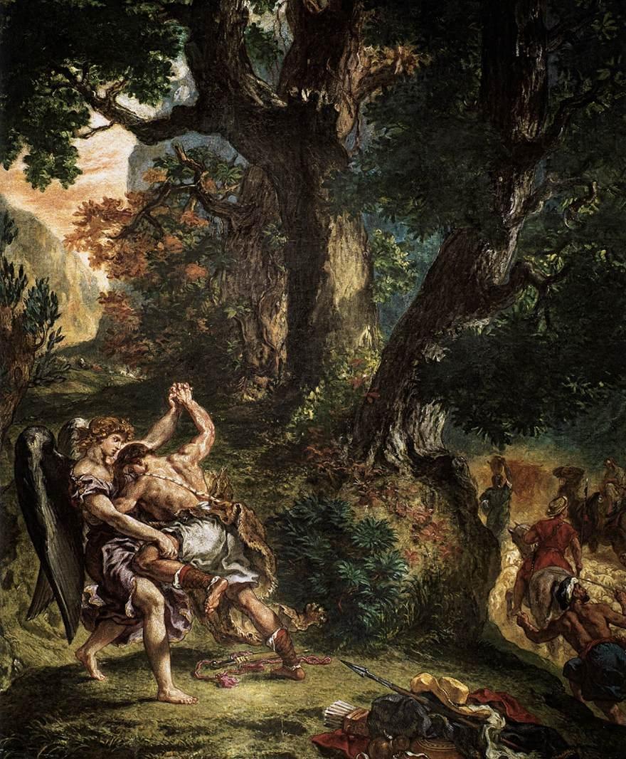 """""""La Lutte de Jacob avec l'Ange"""", Eugène Delacroix (1861) - Fresque"""