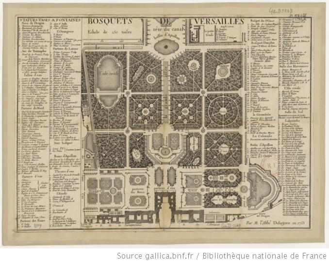 """Jean DELAGRIVE, """"Plan des bosquets de Versailles au début du XVIII°s"""", moulage et chalcographie"""
