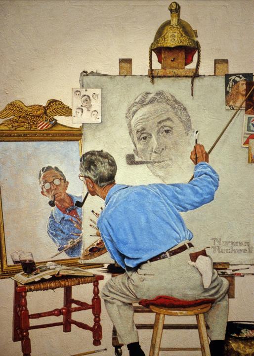 ROCKWELL, Triple autoportrait, 1960, huile sur toile