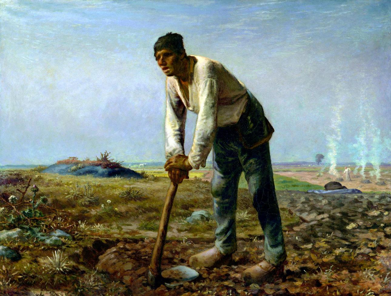 """Millet, """"L'Homme à la bêche"""" (1862), huile sur toile"""