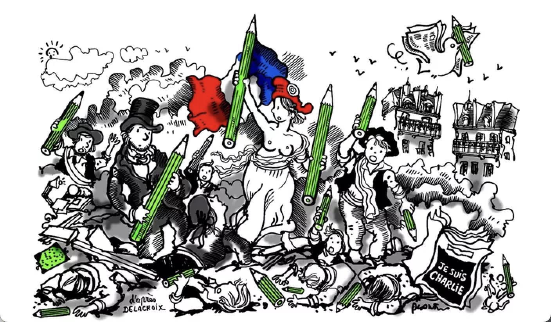 """PLANTU, """"La liberté sera toujours la plus forte"""", Le Monde, 9 janvier 2015, dessin de presse"""