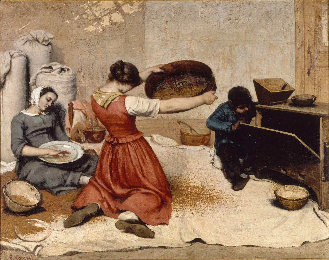 """Courbet, """"Les Cribleuses de blé"""" (1854), huile sur toile"""