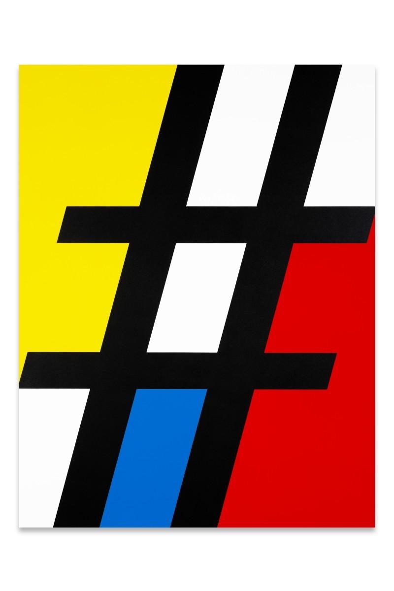 Luke NEWTON, Hashtag Mondrian, Composition 004, 2014, acrylique sur toile (108 x 140 cm)