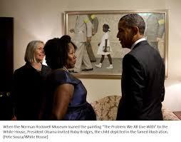 Barack Obama devant l'œuvre de Rockwell