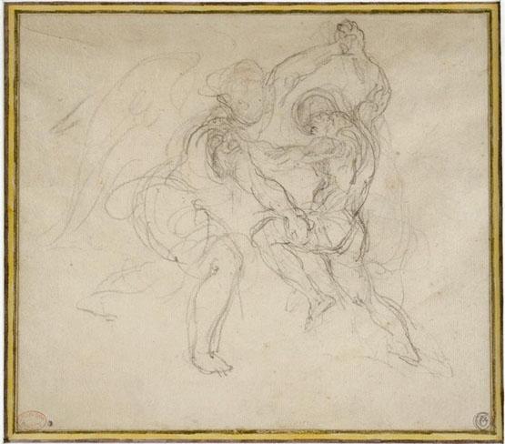 """""""Étude pour Jacob luttant avec l'Ange"""", Eugène Delacroix (1850) - Graphite"""