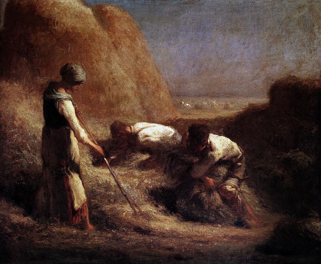 """Millet, """"Les Botteleurs de foin"""" (1862), huile sur toile"""