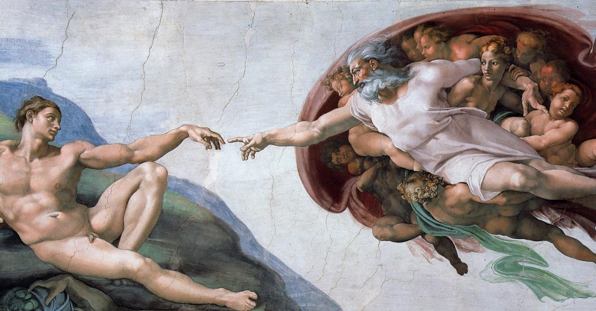 """""""La création d'Adam"""", Michel-Ange, fresque (XVI°s)"""