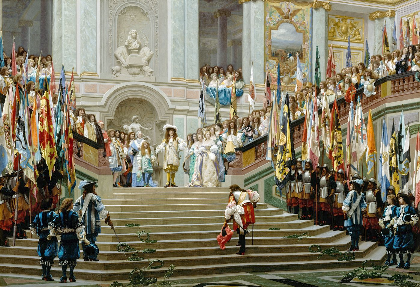 """Jean-Léon GÉRÔME, """"Réception du Grand Condé par Louis XIV"""" (1878), huile sur toile"""