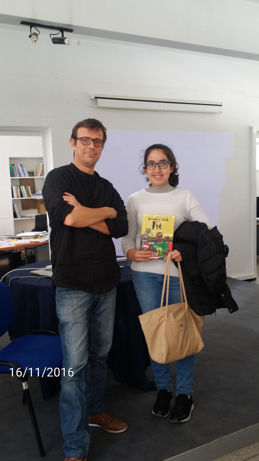 Meryem avec Laurent Galandon, auteur de romans graphiques