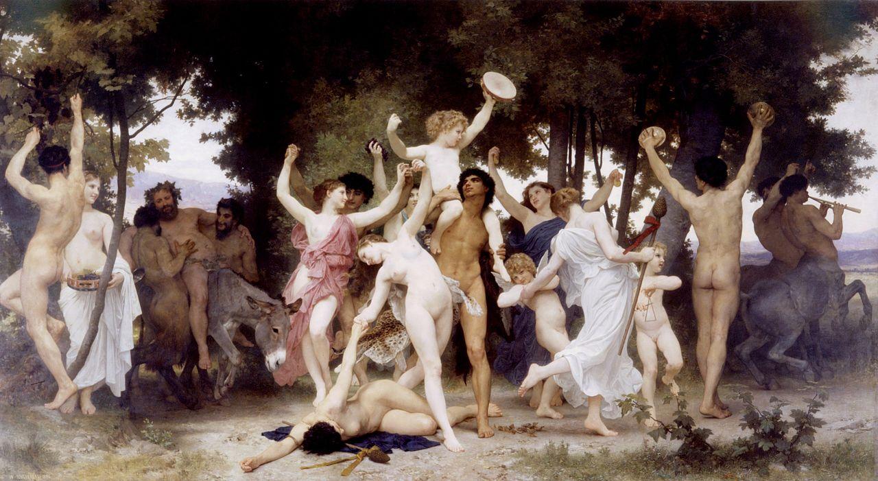 """BOUGUEREAU, """"La jeunesse de Bacchus"""", peinture orgiaque (1884)"""