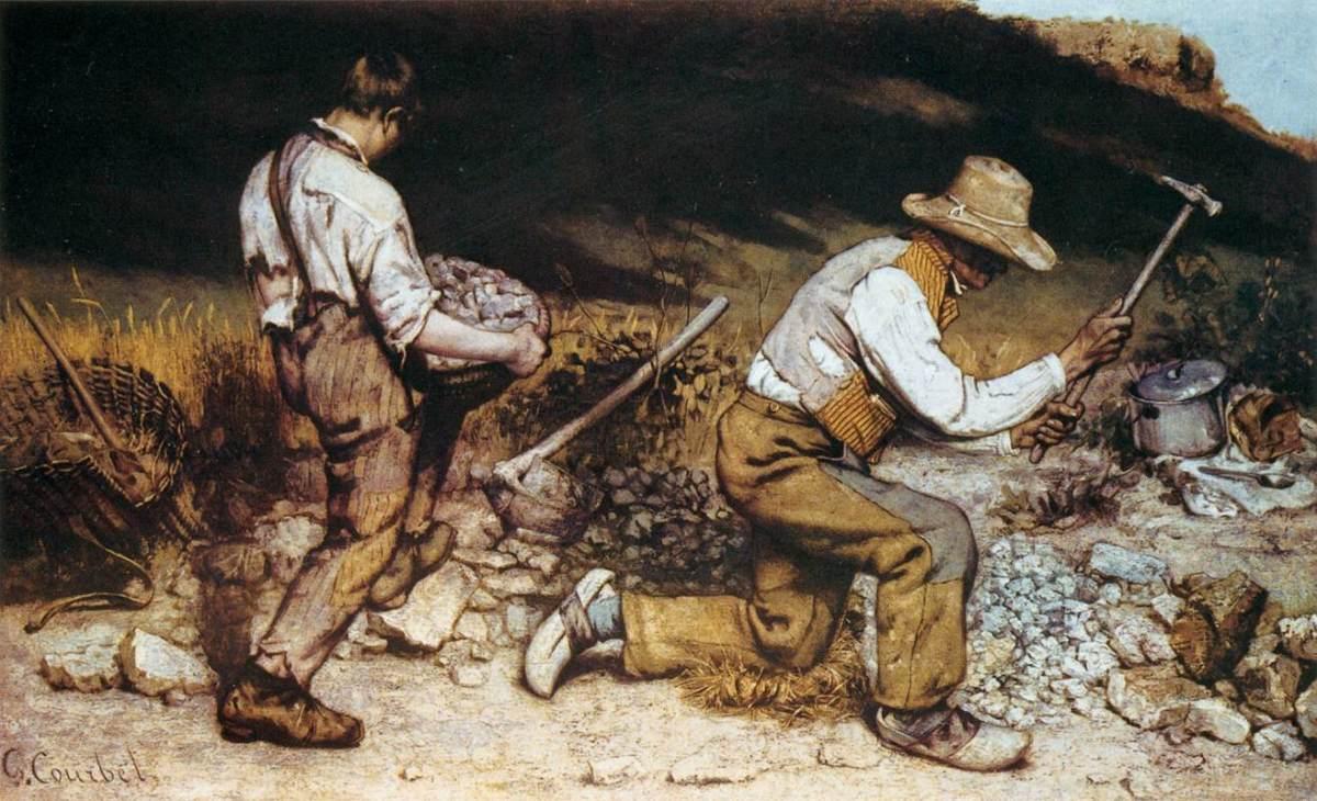 """Courbet, """"Les Casseurs de pierre"""" (1849), huile sur toile"""