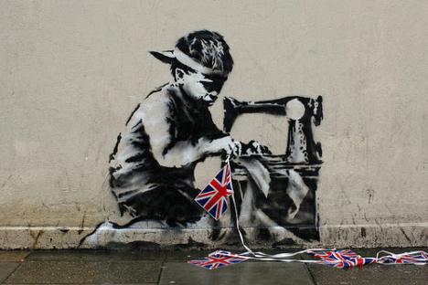 BANKSY, Slave Labour, graffiti
