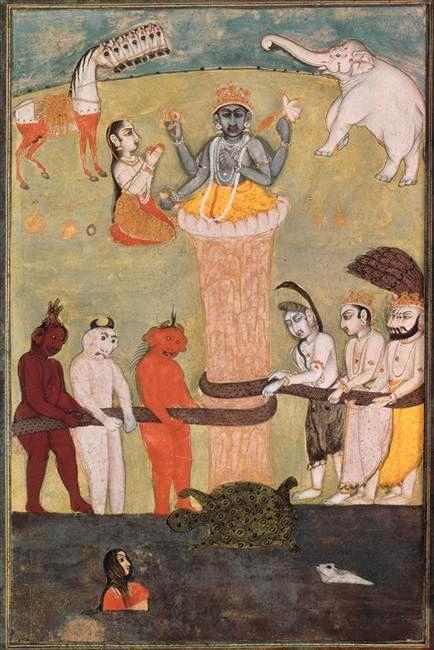 """""""Barattage de la mer de lait"""", mythologie hindoue"""