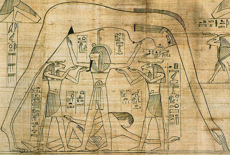 """""""La séparation du ciel et de la terre"""" : Le dieu Chou (l'Air), sépare ses enfants le dieu Geb (la Terre) allongé, de la déesse Nout (le Ciel) femme formant un arc, afin de dégager l'espace où les êtres vivants puissent s'installer, papyrus (950 av. J.-C.)"""