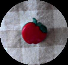 林檎のボタンを付けてみました(ノ´∀`*)