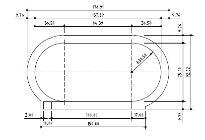 Shape and dimensions (in meters) of the World Athletics Standard Track.