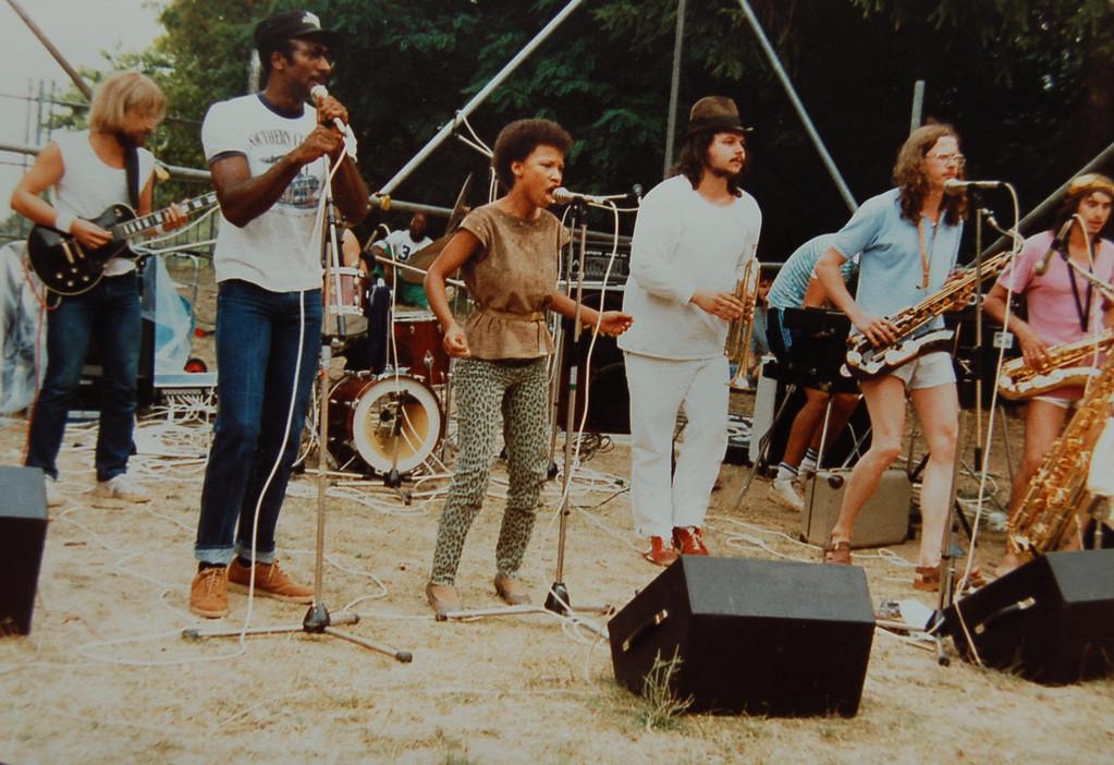 Suppenschüsel 1983, v.l.n.r.: Thomas Hegner, Tony, Danah, Peter Koch, Joni Jacobi, Georg Dickhaut