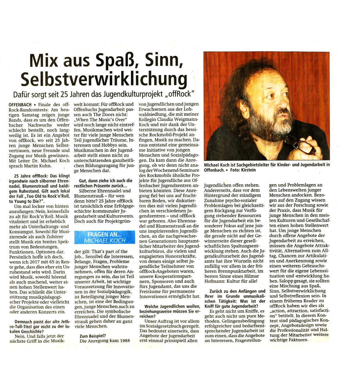 Offenbach Post, 7. Februar 2015