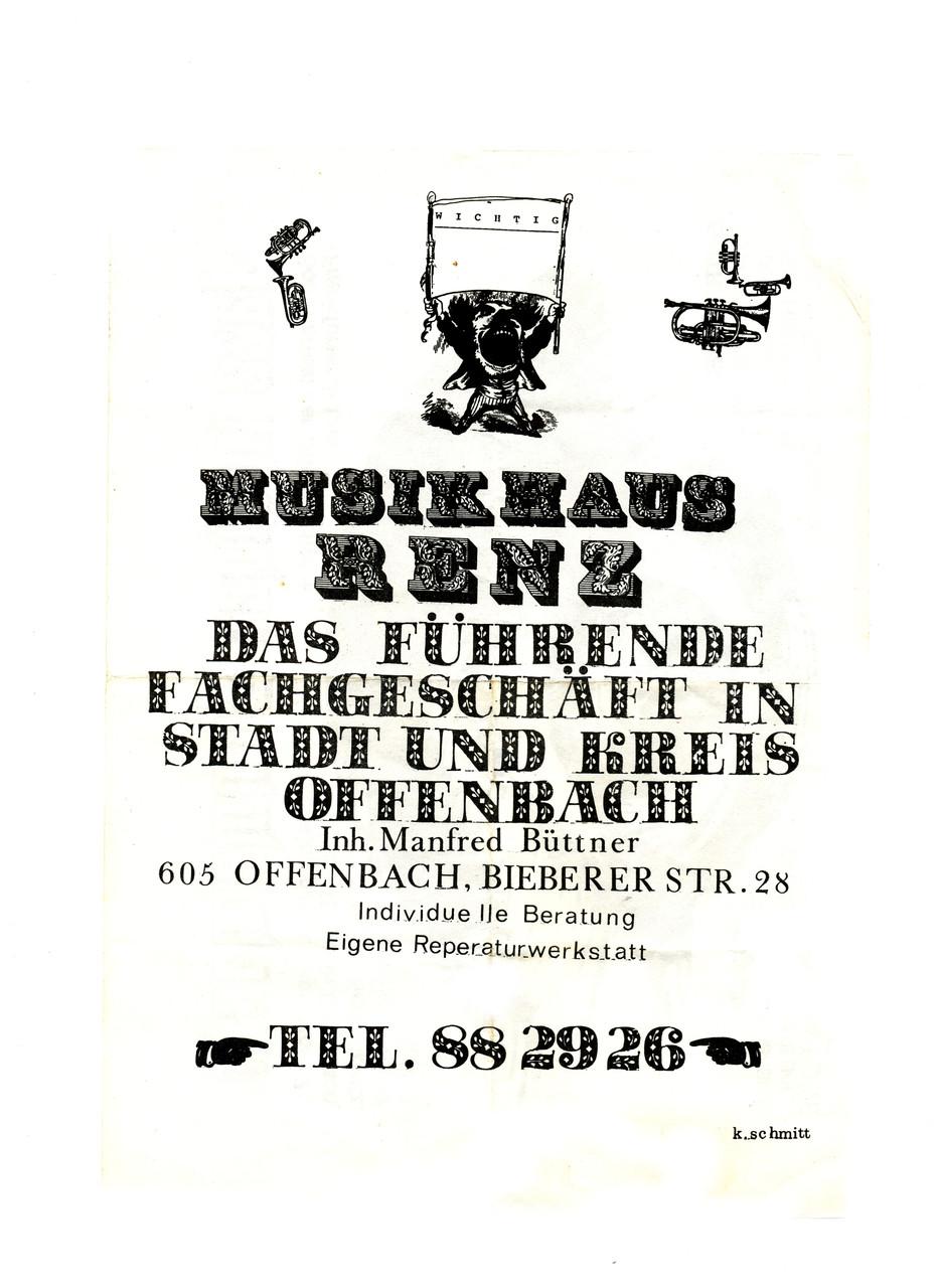 Flyer 1973 (wie man sieht, wurden hier auch Instrumente reperiert)