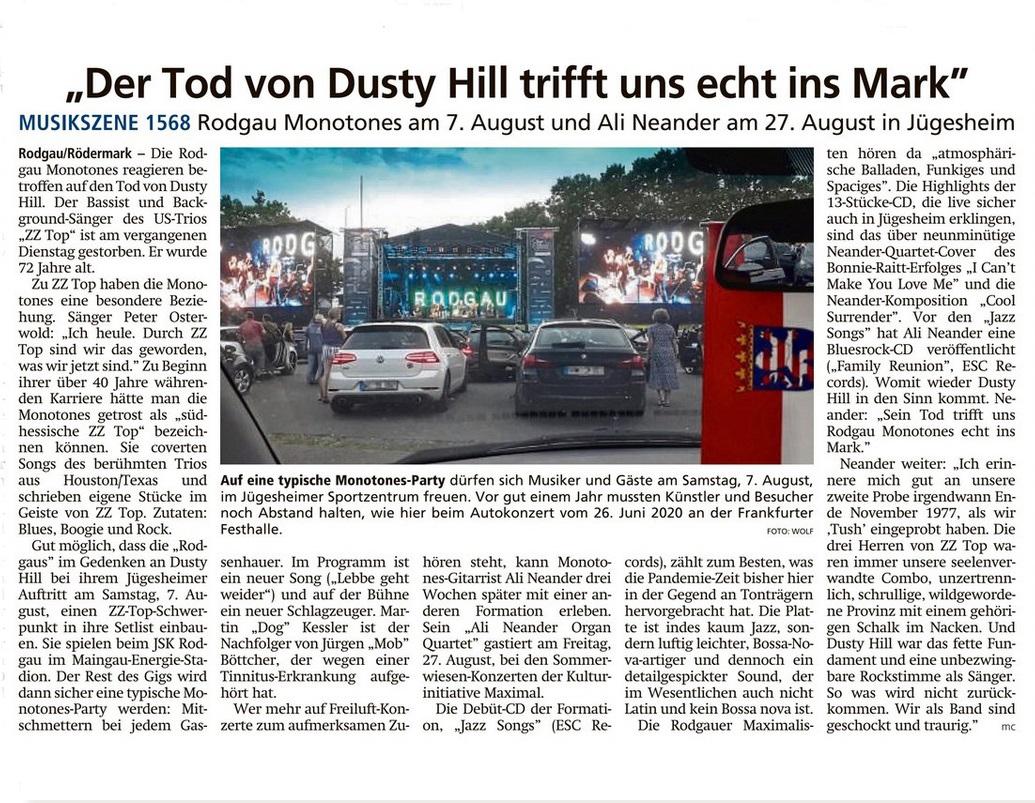 Artikel Offenbach Post, 3. August 2021