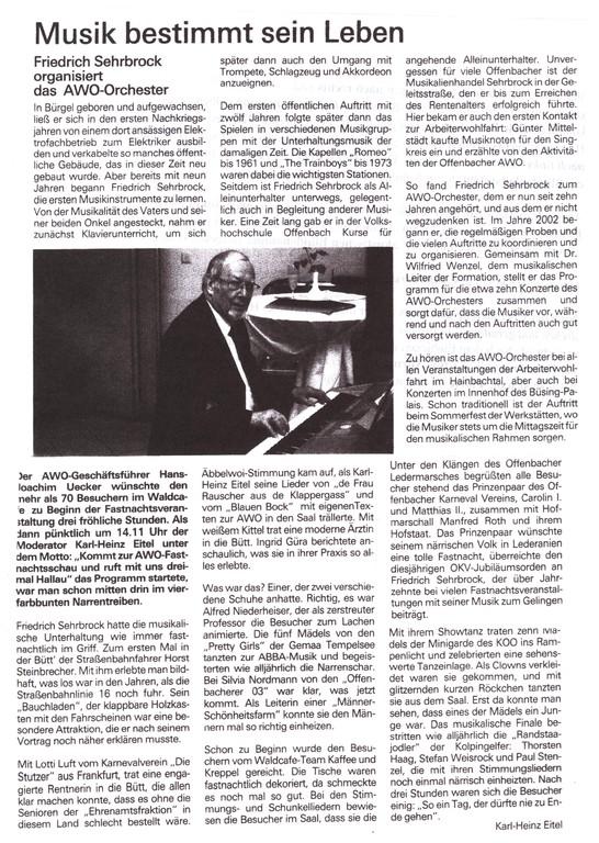 Artikel AWO-Zeitschrift über Friedrich Sehrbrock