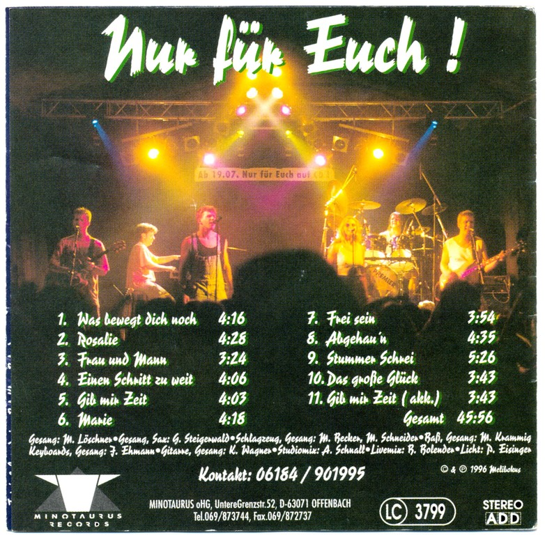 "CD-Cover ""Nur für Euch!"" Rückseite"