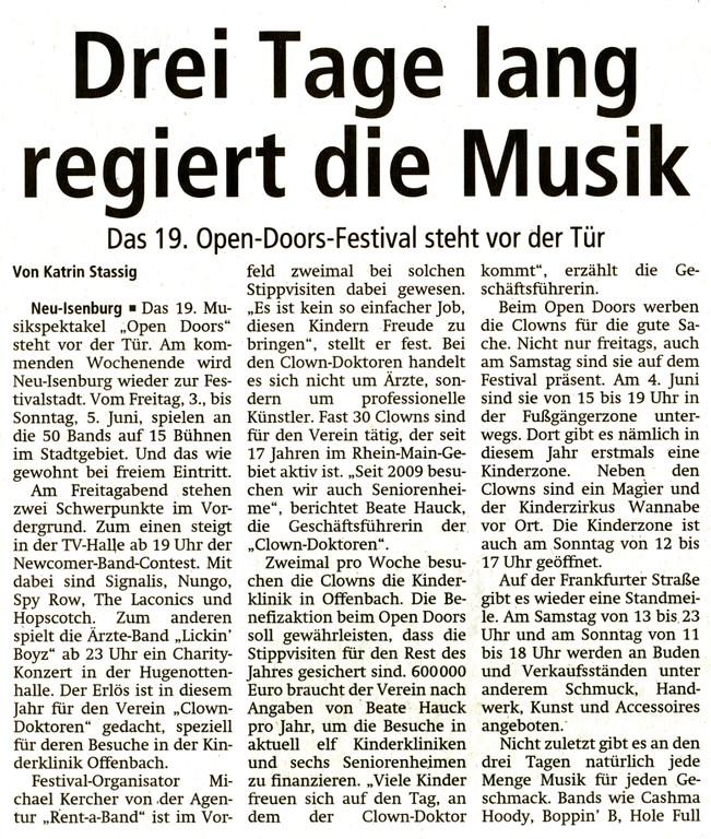 Artikel Offenbach Post, 1. Juni 2011 (1)