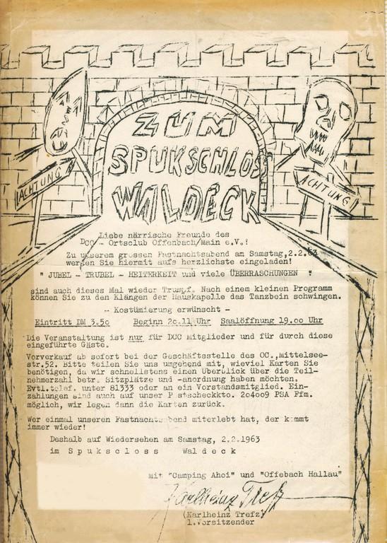 Einladung zum Fastnachtsamstag 1963