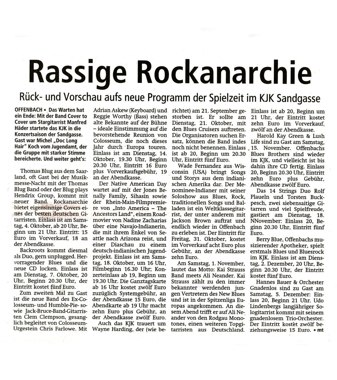 Offenbach Post, 1. Oktober 2014