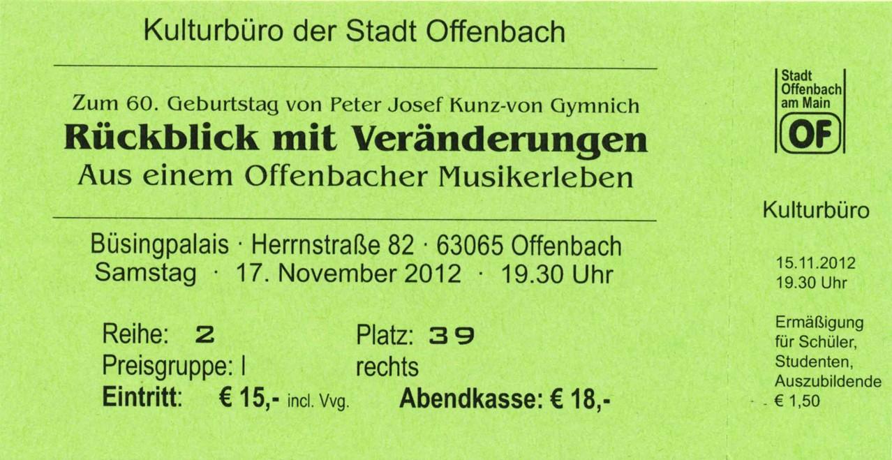 Eintrittskarte 17.11.2012