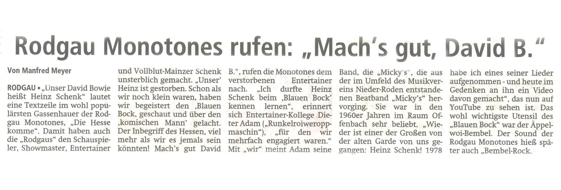Offenbach Post, 3. Mai 2014