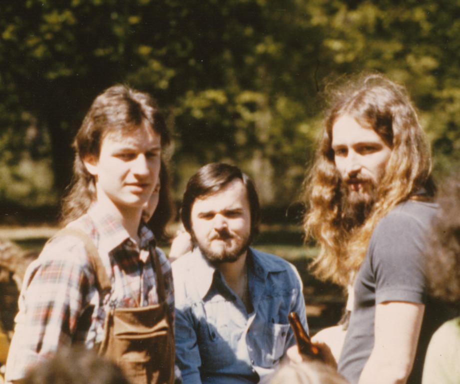 1. Auftritt Waldfreizeitanlage Jügesheim 1979 / v.l.n.r.: Peter Maith, Joachim Rabold, Reiner Wolff
